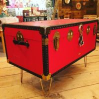 Coffee table made from a vintage travel trunk